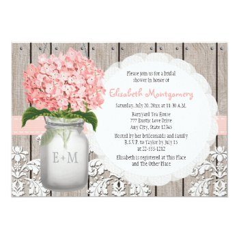 Pink Hydrangea Monogrammed Mason Jar Bridal Shower Card by OccasionInvitations at Zazzle