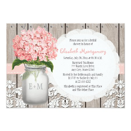Pink Hydrangea Monogrammed Mason Jar Bridal Shower Card