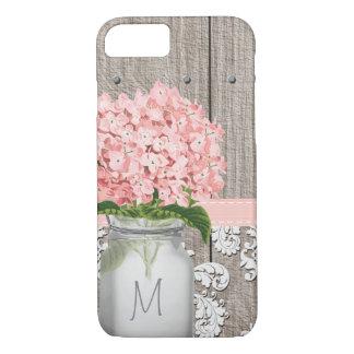 Pink Hydrangea Monogrammed Mason Jar iPhone 7 Case