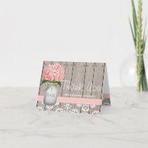 Pink Hydrangea Monogrammed Mason Jar THANK YOU