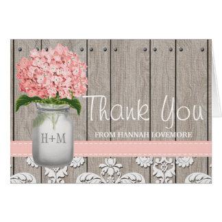 Pink Hydrangea Monogrammed Mason Jar THANK YOU Stationery Note Card