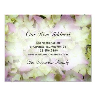 "Pink Hydrangea New Address Announcement Card 4.25"" X 5.5"" Invitation Card"