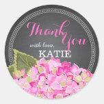 Pink Hydrangea on Chalkboard Thank You Sticker