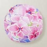 Pink Hydrangea Pillow Round Pillow