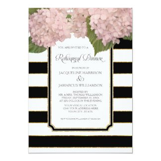 Pink Hydrangea Rehearsal Dinner Bold Stripe Modern Card