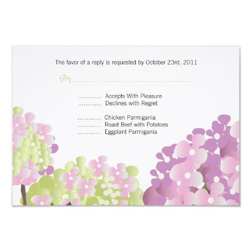 Pink Hydrangea Reponse Card