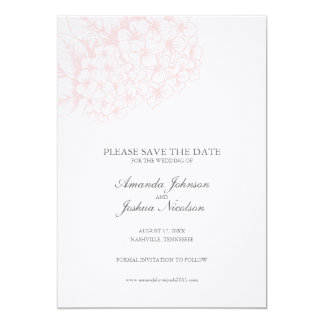 Pink Hydrangea Save the Date 5x7 Paper Invitation Card