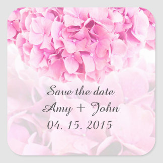 Pink hydrangea save the date stickers hydrangea1