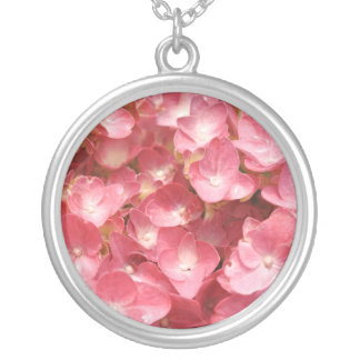 Pink hydrangea silver plated necklace
