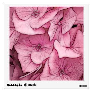 Pink Hydrangea Sketch Wall Sticker