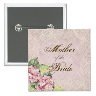 Pink Hydrangea Swirl - Bridal Party Button