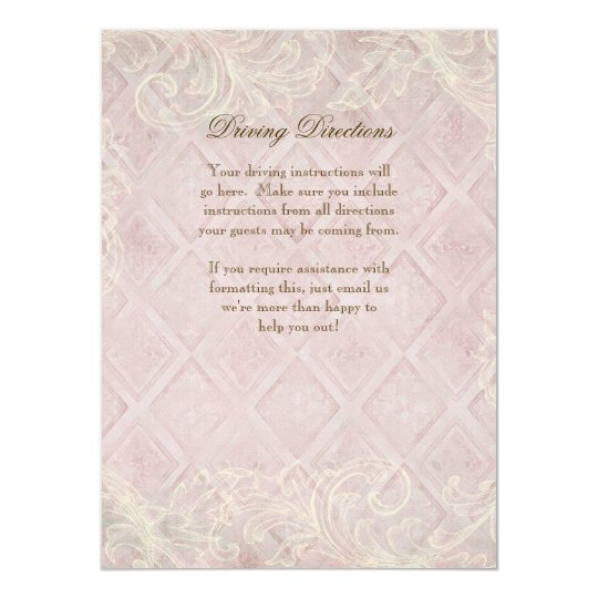 Pink Hydrangea Swirl Hotel,  Driving Directions Card