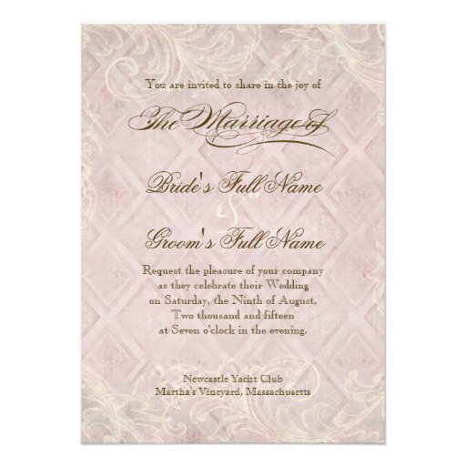 Pink Hydrangea Swirl - Wedding Invitation