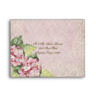 Pink Hydrangea Swirl - Wedding Matching Envelope