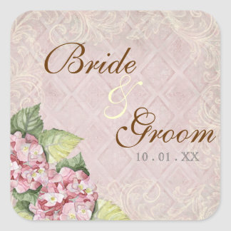 Pink Hydrangea Swirl - Wedding Seal or Sticker
