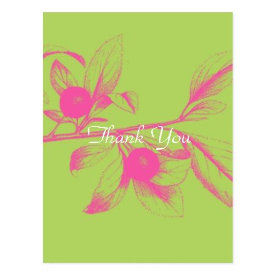 Pink Hydrangea Thank You Postcard