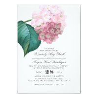 Pink Hydrangea Vintage Floral Wedding Invitation