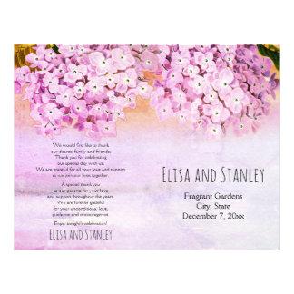 Pink hydrangea watercolor wedding folded program flyer