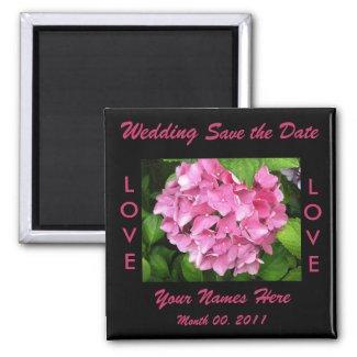 Pink Hydrangea Wedding Magnet