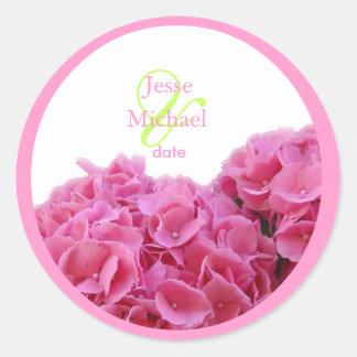 Pink Hydrangea wedding stickers, custom trim Classic Round Sticker