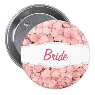Pink Hydrangea with Khaki Accent Bride Pinback Button