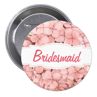 Pink Hydrangea with Khaki Accent Bridesmaid Pinback Button