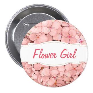 Pink Hydrangea with Khaki Accent Flower Girl Pinback Button