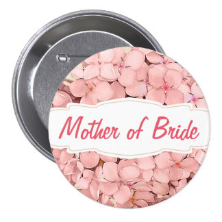 Pink Hydrangea with Khaki Accent Mother of Bride Pinback Button