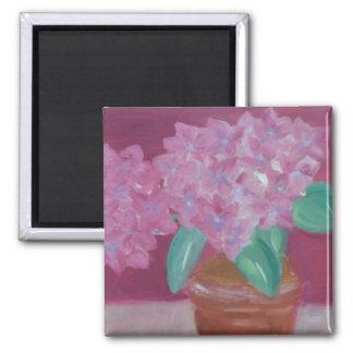 Pink Hydrangeas 2 Inch Square Magnet