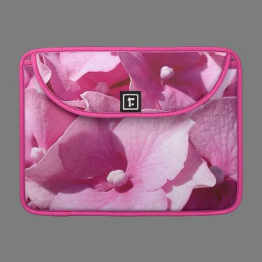 Pink Hydrangeas pink floral photo Sleeve For MacBook Pro
