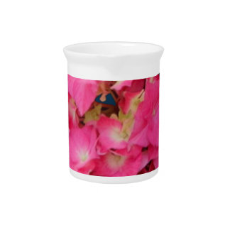 Pink Hydrangeas-Teal colors Flower Gift by SHARLES Beverage Pitcher