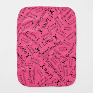 Pink I love cheerleading Baby Burp Cloth