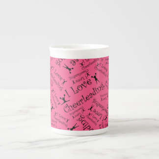 Pink I love cheerleading Bone China Mug