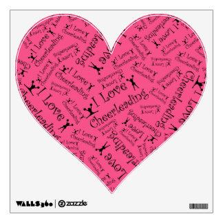 Pink I love cheerleading Room Stickers