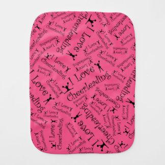 Pink I love cheerleading Burp Cloth