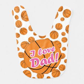 Pink I Love Dad Basketball Bib
