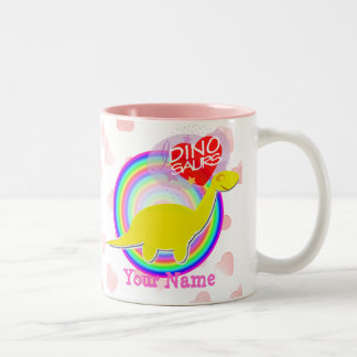 Pink I love Dinosaurs with Hearts Cartoon Name Mug