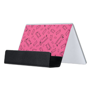 Athletic coach business card holders zazzle pink i love gymnastics desk business card holder colourmoves