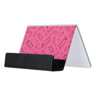 Pink I love gymnastics Desk Business Card Holder