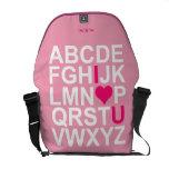 Pink I Love Heart You Messenger Bag Courier Bag