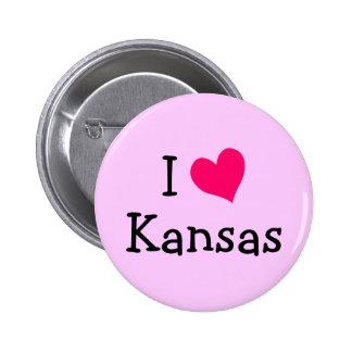 Pink I Love Kansas Pinback Button