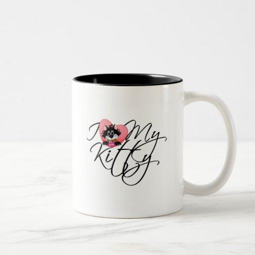 Pink I Love My Kitty Tshirts and Gifts Two-Tone Coffee Mug