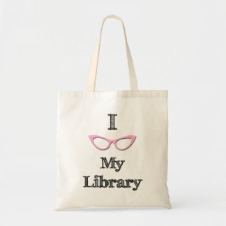 Pink - I love my library Tote Bag