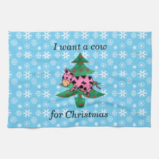 Pink I want a cow for christmas Towel
