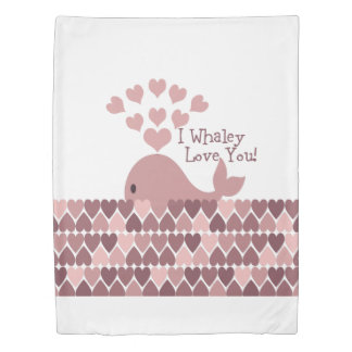 Pink I Whaley Love You! Duvet Cover