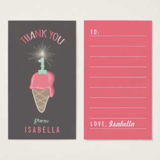 Pink Ice Cream 1st Birthday Thank You DIY Gift Tag