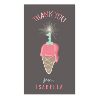 Pink Ice Cream 1st Birthday Thank You DIY Gift Tag Double-Sided Standard Business Cards (Pack Of 100)