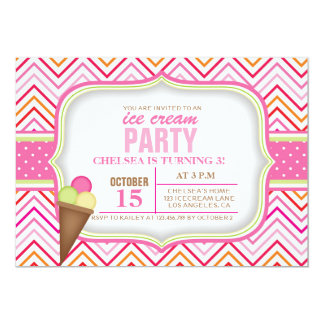 Pink Ice Cream Birthday Party Invitation