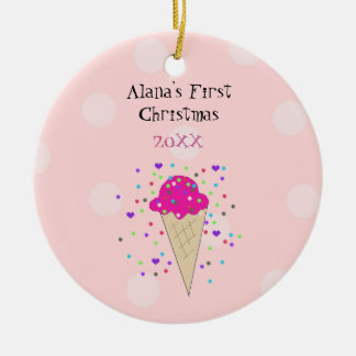 Pink Ice Cream Cone Baby First Christmas Ceramic Ornament