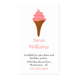 Pink Ice Cream Cone Children Play Date Card Double-Sided Standard Business Cards (Pack Of 100)